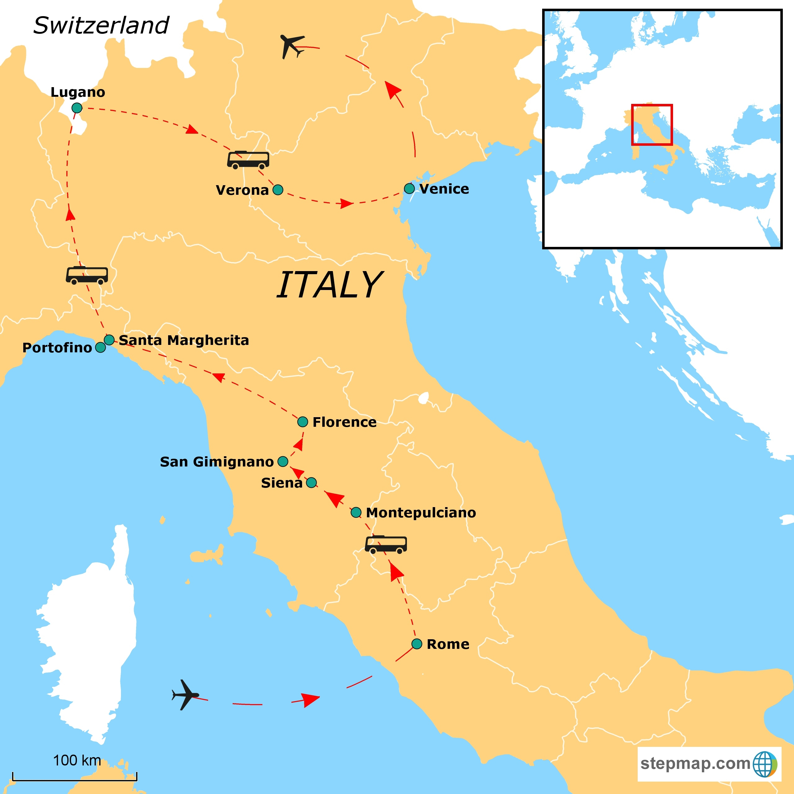 Artistic Italy With Rome And Switzerland