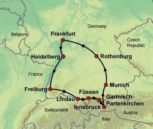 Romantic Germany Escorted Tour - Germany map romantic road